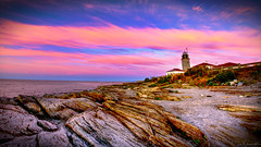 Beavertail Point Lighthouse (iecharleton) Tags: lighthouse beavertailpoint statepark water ocean seaside coast beach rock rocky architecture building landscape navigation clouds sky pink early dawn goldenhour newengland maritime seascape travel