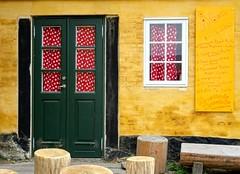 Door and window (Jaedde & Sis) Tags: caferosa gudhjem door window colour yellow closed challengeyouwinner cyunanimous friendlychallenges