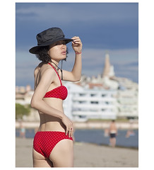 _5002788c (1) (Concert Photography and more) Tags: italy grado fvg 2017 beach beachlife summer sand girl model posing sensual swimsuit red liveactionhero olympus isoladelsole
