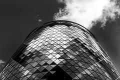Gherkin (Derwisz) Tags: thegherkin london cityoflondon 30stmaryaxe england skyscraper blackwhite blackandwhite monochrome unitedkingdom canon canoneos40d city architecture buildings