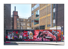 Street Art (Tom Blackford & Ali Hamish), East London, England. (Joseph O'Malley64) Tags: tomblackford 40hk streetartists streetart urbanart publicart freeart graffiti eastlondon eastend london england uk britain british greatbritain art artists artistry artwork mural muralists wallmural wall walls brickwork bricksmortar cement pointing buildings 20thcenturybuildings newbuild trumanbrewery oldtrumanbrewery steelwindowframes plateglass capstones chimney bollard streetsign sign signage lamppost lighting yard compound plasticblockboard streetworksbarrier pavement granitekerbing tarmac doubleyellowlines noparkingatanytime parkingrestrictions urban urbanlandscape aerosol cans spray paint fujix fujix100t accuracyprecision alihamish mowscodelico