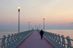 Luci sul pontile (Darea62) Tags: seascape streetlights bridge winter sunset fortedeimarmi versilia pier jetty sea calm street