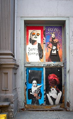 Poseurs on Reade St., Tribeca (sjnnyny) Tags: posters graphicart doorway nyc tribeca stevenj sjnnyny d7500 afsdx1224f4g manhattan urban streetart
