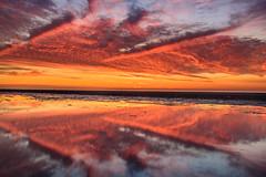 Burning sky (Ellen van den Doel) Tags: 2018 natuur landscape hoek juli reflection reflectie outdoor evening clouds gebied lucht sunset sky kwade landschap fire nature project