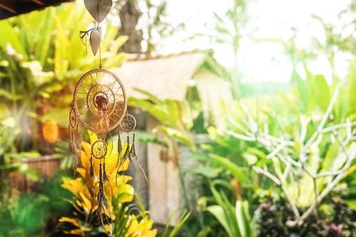 Dream catcher in a magical balinese garden. Bali island.