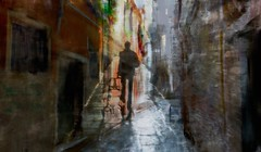 Talking shadows 2018 (Bamboo Barnes - Artist.Com) Tags: street alley venice italy man walls tile brick distressed light shadow photomanipulation door reflection morning painting green orange red yellow tan brown blue grey black bamboobarnes surreal