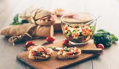 Breakfast (Inka56) Tags: breakfast cherrytomato baguette homemadebread woodplate salad mozzarella basil prosciutto sandwich snacks packaging knife bowl homemade food macromademoiselle homemadefood