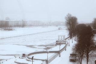 View on Gorky Park from Andreyevskiy Bridge