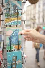 Arquitectura moderna (o azul) (☼ Mrs ☼) Tags: barcelona postal mano ramblas ciudad street city calle