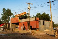 break - aline (Windswept.west) Tags: lamesa lightroomcc red goldenhour galvanized wires abandoned autoshop nikond5200 tamron247028