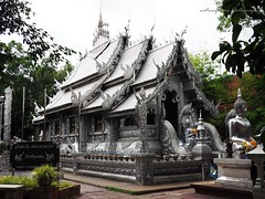 The first silver temple of the world in Chiang Mai in rainy day. (natureflower photography) Tags: first silver temple chiangmai srisupan thailand art work captureintherain