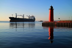 Morning at the Mouth of the Milwaukee River (johndecember) Tags: milwaukee mke wisconsin usa album 2018 june summer gallery lakefront rivermouth lakemichigan milwaukeeriver menomoneeriver kinnickinnicriver pier morning sunny canonefm1855mmf3556isstm canoneosm3 ship polsteam