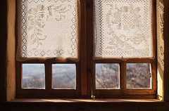 Old Window and Embroidery (dejankrsmanovic) Tags: window curtain emroidery embroidered object stilllife lifestyle village domestic rural countryside dwelling interior indoor glass transparent decor decorative decoration frame concept conceptual architecture architectural design style oldfashioned retro vintage old wood wooden timber natural simple closeup abstract nostalgia