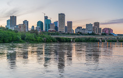 Edmonton from the RiverBoat (WherezJeff) Tags: 2018 edmonton northsaskatchewan summer cityscape cruise evening river skyline alberta canada telussouth skyscrapers riverboat