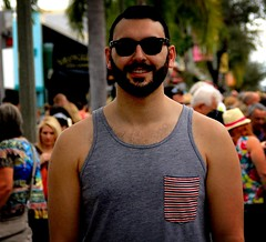 Bearded guy  65 (LarryJay99 ) Tags: man men guy guys dude male studly manly dudes handsome beard face facialhair mustasch hairychest hairyman smile sunglasses glasses tanktop sleevelessshirt people crowds keywest florida bulges stud shoulders happy