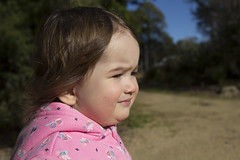 squinting in the sun and the wind (louisa_catlover) Tags: child daughter family portrait tabitha garden outdoor walking karwarra dandenongs melbourne australia winter botanicgarden july 2018 windy