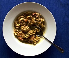 Not Vegetarian, but Delicious! (Padmacara) Tags: food shrimp pasta cumin coriander spoon bowl blue lemon oil g11 curry chilli