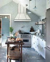 Pale Blue-Gray Kitchen (Heath & the B.L.T. boys) Tags: kitchen tile marthastewart rustic island basket stove shelves condiments pendantlamp industrial