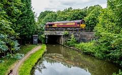 Glen Parva (Peter Leigh50) Tags: ews db cargo canal fujifilm fuji xt2 class 66 shed reflection water trees train railway railroad rail bridge