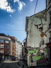 Fly away (Melissa Maples) Tags: brussel bruxelles brussels belgique belgië belgium europe apple iphone iphone6 cameraphone winter mural graffiti streetart art building