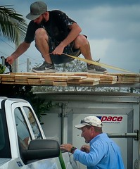 Working man on trailer (LarryJay99 ) Tags: fromcarwindow people urban candid unsuspecting unaware westpalmbeach florida caps workmen workingmen man men guy guys dude male studly manly dudes handsome manspreading goatee profile bulges legsspread bulging painter