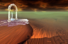 Illusion (Milla DelRay) Tags: sl secondlife desert nature sky cloud clouds mirage illusion water fountain arch stone sand stones sea devins eye landscape landscapes ruin ruins devinseye