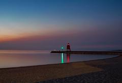 The Lighthouse (T P Mann Photography) Tags: reflections dusk evening longexposure twilight pier sand beach shore lighthouse seascape sea lake lakemichigan michigan charlevoix sunset