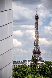 view of the Eiffel tower, Le Tour Eiffel, seen from the Fondation Louis-Vuitton building, Paris, France