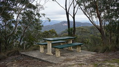Lunch stop bench with a view from Mt Piddington (spelio) Tags: mt victoria nsw blue mountains australia winter bushwalk hike