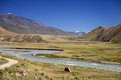 Kyrgyzstan (Joost10000) Tags: kyrgyzstan asia centralasia ysykkol landscape landschaft natur nature outdoors view scenic mountains tienshan river road track canon eos canon5d grass travel adventure sky