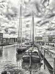 Am Hafen.... (emcross) Tags: bw blackwhite blackandwhitephotography hdr hafen harbour husum schleswigholstein fischer traditionsschiffe schwarzweiss