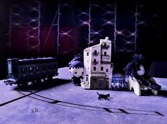 Surprise in the Attic (pianocats16) Tags: lydia deetz tiny mini figure edward scissorhands voodoo doll old attic toys antique vintage black kitty cat train beetlejuice tim burton imagination