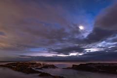 Sunrise and Moonset (armct) Tags: sunrise moonset cloud windy longexposure surf foam rocks snapper surfbeach morning exposure stars horizon skyline