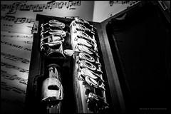 Open hole flute in its case (G. Postlethwaite esq.) Tags: bw canon40d canonefs60mmmacro chainlane dof derby derbyshire january blackandwhite bokeh depthoffield flute instrument monochrome music musicalinstrument openholeflute photoborder primelens selectivefocus stilllife violin