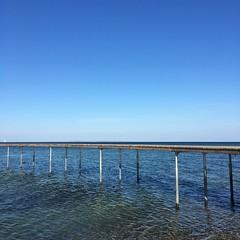 (hannemiriam) Tags: simplicity woodbridge view sunshine summer beach nature nopeople bridge denuendeligebro water bluesky blue oceanview ocean danishnature danmark denmark aarhusdenmark århus aarhus iphone