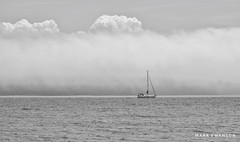 Safe Passage (mswan777) Tags: weather mist sky 70300mm sigma d5100 nikon ansel white black seascape monochrome boat michigan island mackinac greatlakes scenic outdoor cloud fog wave water sailboat