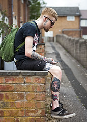 Living Artworks (Mick Steff) Tags: tattoos male single street urban macclesfield people