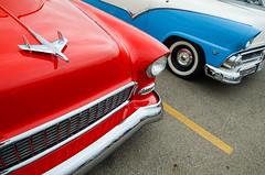 Chevy vs Ford in '55 (GmanViz) Tags: gmanviz color car automobile vehicle detail goodguysppgnationals custom nikon d7000 1955 chevrolet ford fender bumper headlight chrome hood