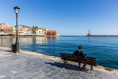 Living in Chiana (Matthias58) Tags: sitting landscape people streetphotography canoneos6d chania man relaxing mediterraneansea harbour equipment harbourofchania architecture greece crete photography places canonef2470mmf28liiusm kreta griechenland gr