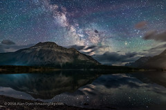 The Milky Way over Vimy Peak (Amazing Sky Photography) Tags: driftwoodbeach luminar milkyway nationalpark on1 parkscanada sagittarius scorpius unworldheritage vimypeak watertonlake watertonlakes darkskypreserve nightscape reflection stars water