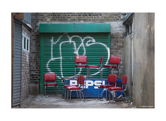 North London Discarded Chairs? © (wpnewington) Tags: chairs red green pepsi discarded rubbish dumped walls bricks london