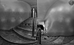 Ghosted (TJ.Photography) Tags: panorama ghost eerie ghostly ghosts spooky horror terror bnw bw stairs mood light infrared infrarot ir shoes inside interior home house