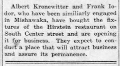 1918 - Kronewitter and Iodor buy Hirstein restaurant - Enquirer - 5 Dec 1918