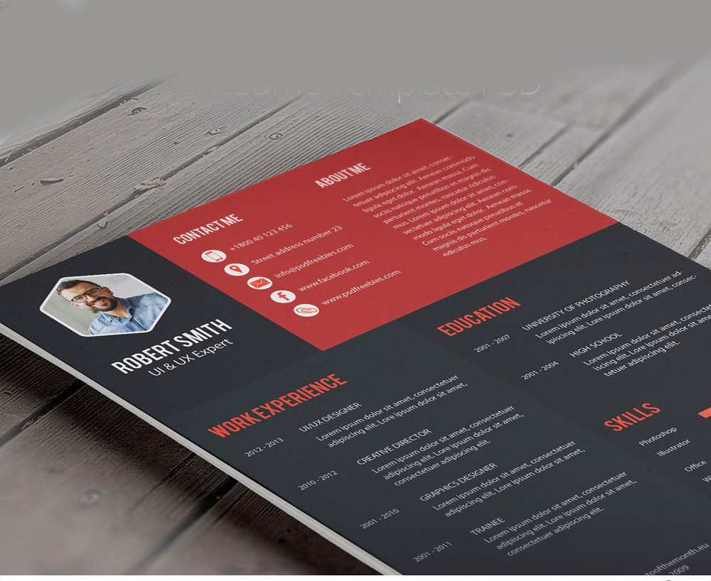 Creative Professional Resume Template PSD (Rajesh Roya) Tags: