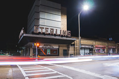 Sterling Theater (tylerjacobs) Tags: sigma 16mm f14 sony a6000 long exposure longexposure photography light trails lighttrails cars traffic illinois sterling midwest street city streets vintage theater marquee lights theatre cinema