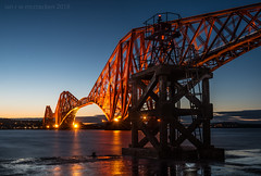 (ianrwmccracken) Tags: unesco forthbridge dusk reflection worldheritagesite riverforth railway cantilever evening lowlight sea
