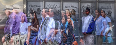 Planet Hollywood NYC (albyn.davis) Tags: people nyc newyorkcity colors manipulation manipulated doubleexposure city urban travel creative faces blue