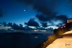 Caldera view by night (mattiaros) Tags: santorini greece caldera night clouds moon stars sea boat