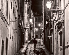 Sidestreet at night (ToddP99z) Tags: leica dlux lisbon lisboa portugal pt europe travel night street bw shadow shadows streetlight architecture buildings