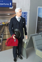 6. Waiting for his flight (Foxy Belle) Tags: doll dollhouse miniature diorama airport work barbie uniform vintage gray american airlines business madmen roger sterling silkstone froggy stuff playscale ooak 16 scale 1960s